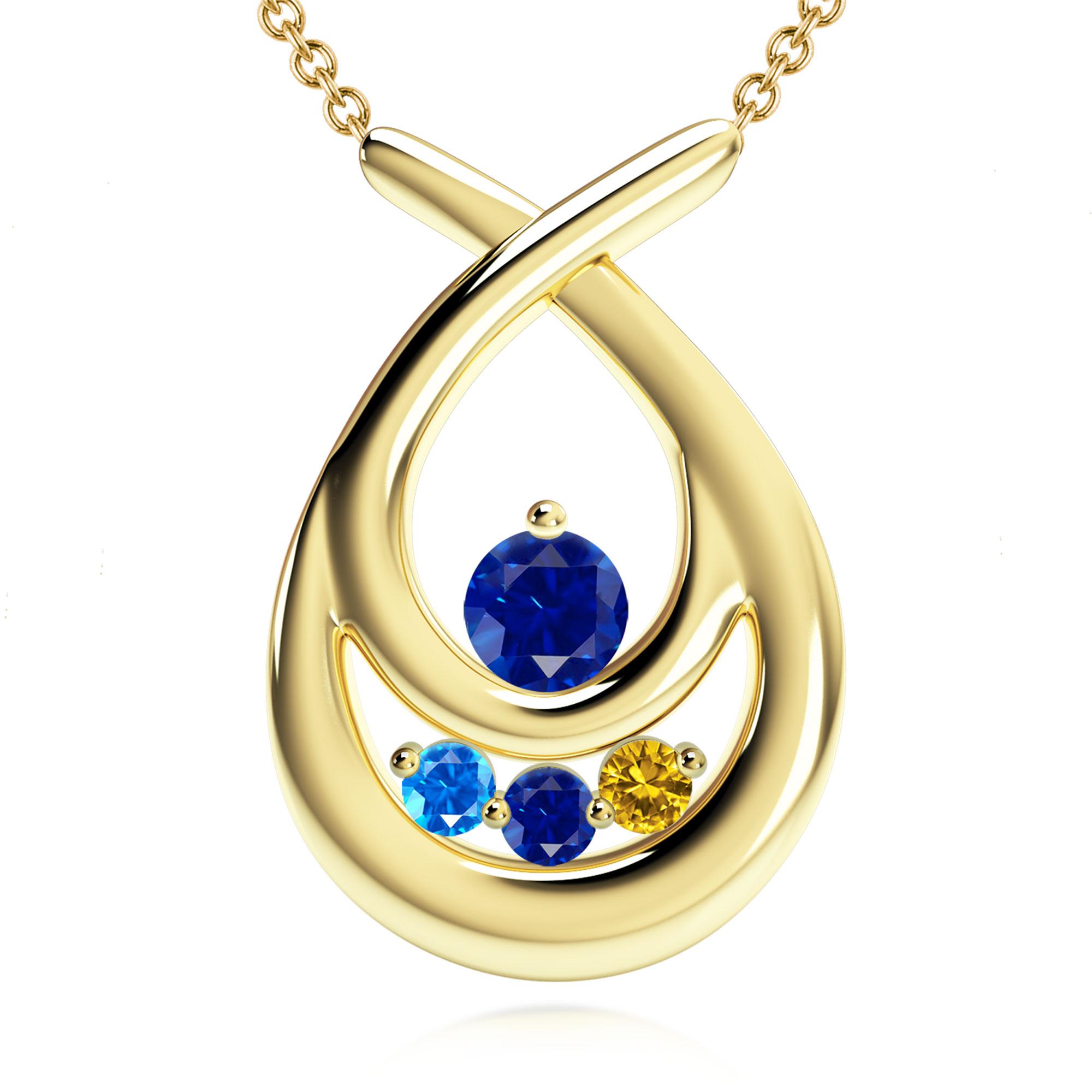 Mother's Custom Birthstone Teardrop Family Necklace (2-4 Gemstones)
