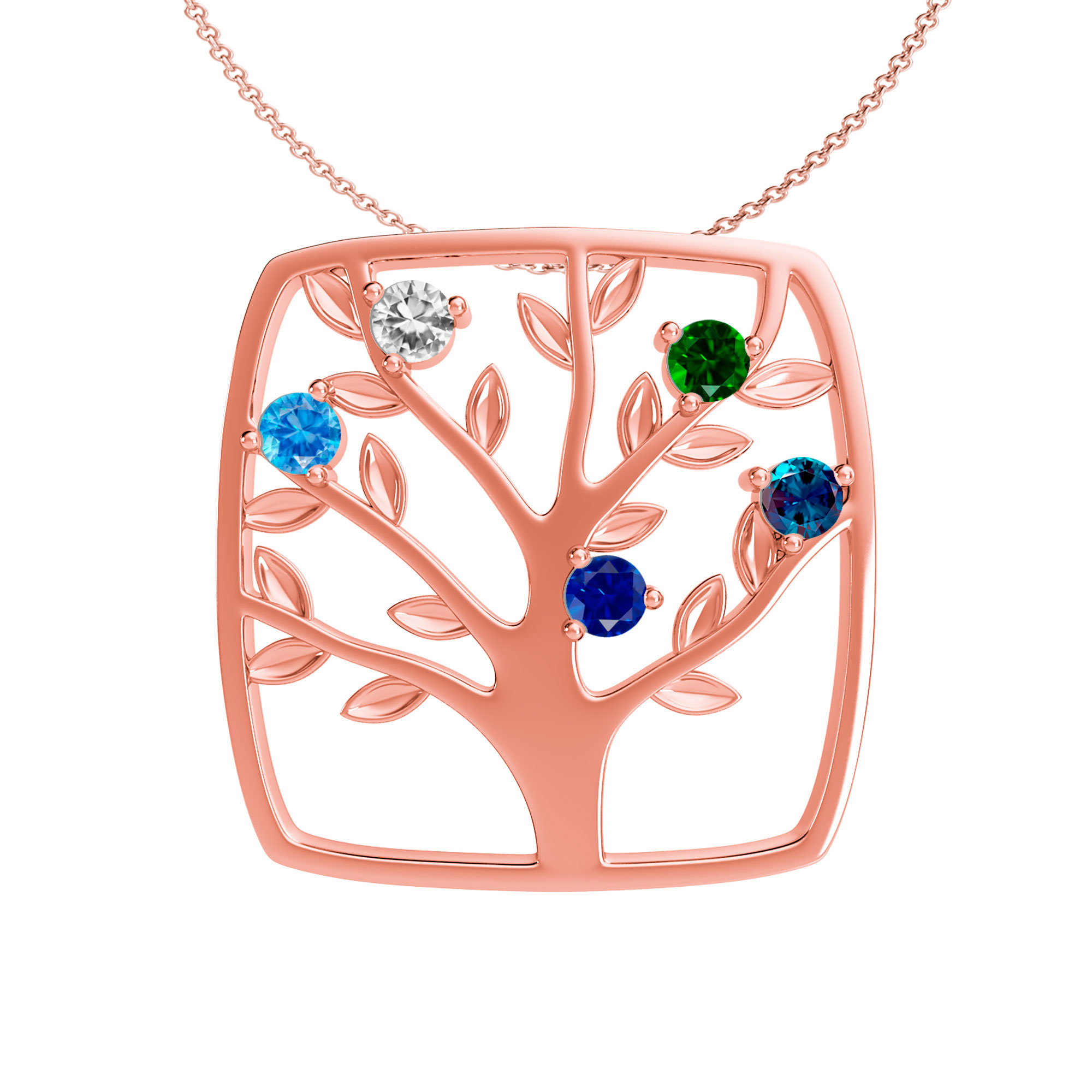 Mother's Family Tree Custom Birthstone Pendant Necklace (2-5 Gemstones)
