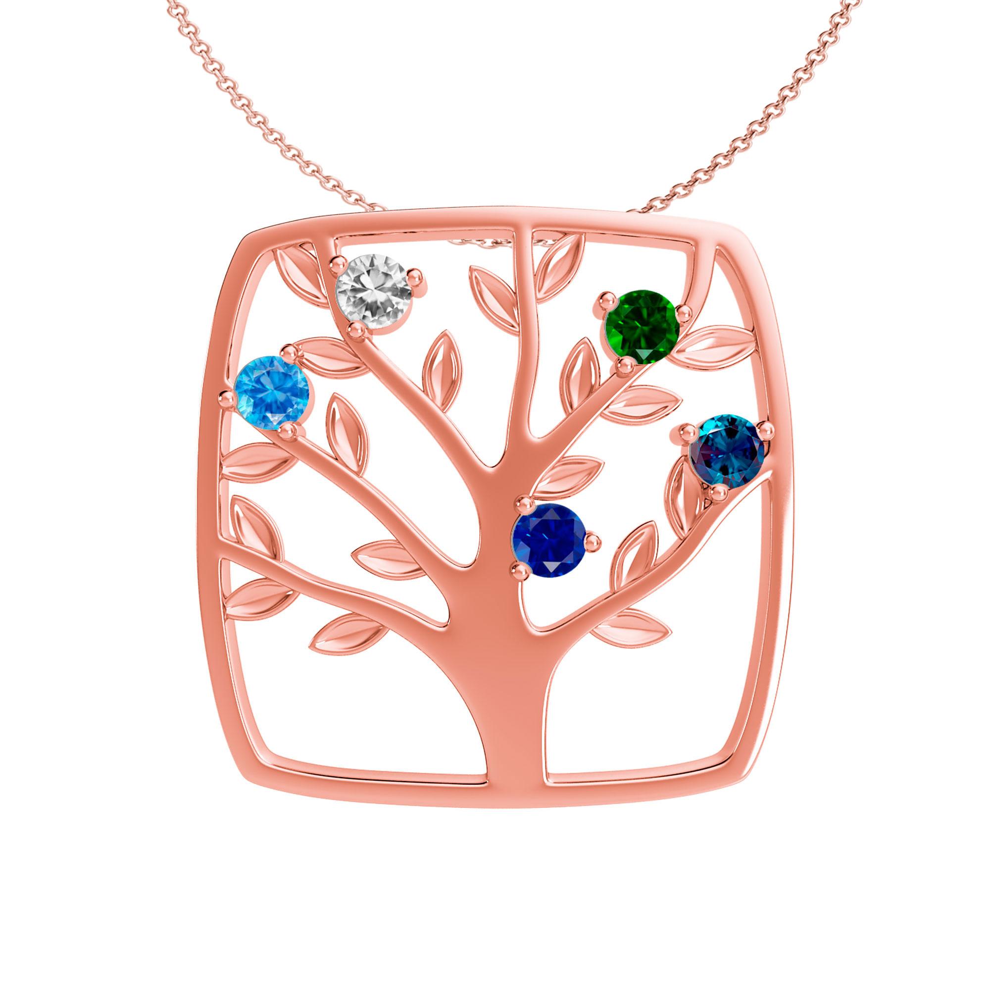 Mother's Family Tree Custom Birthstone Pendant Necklace (2-5 Gemstones)