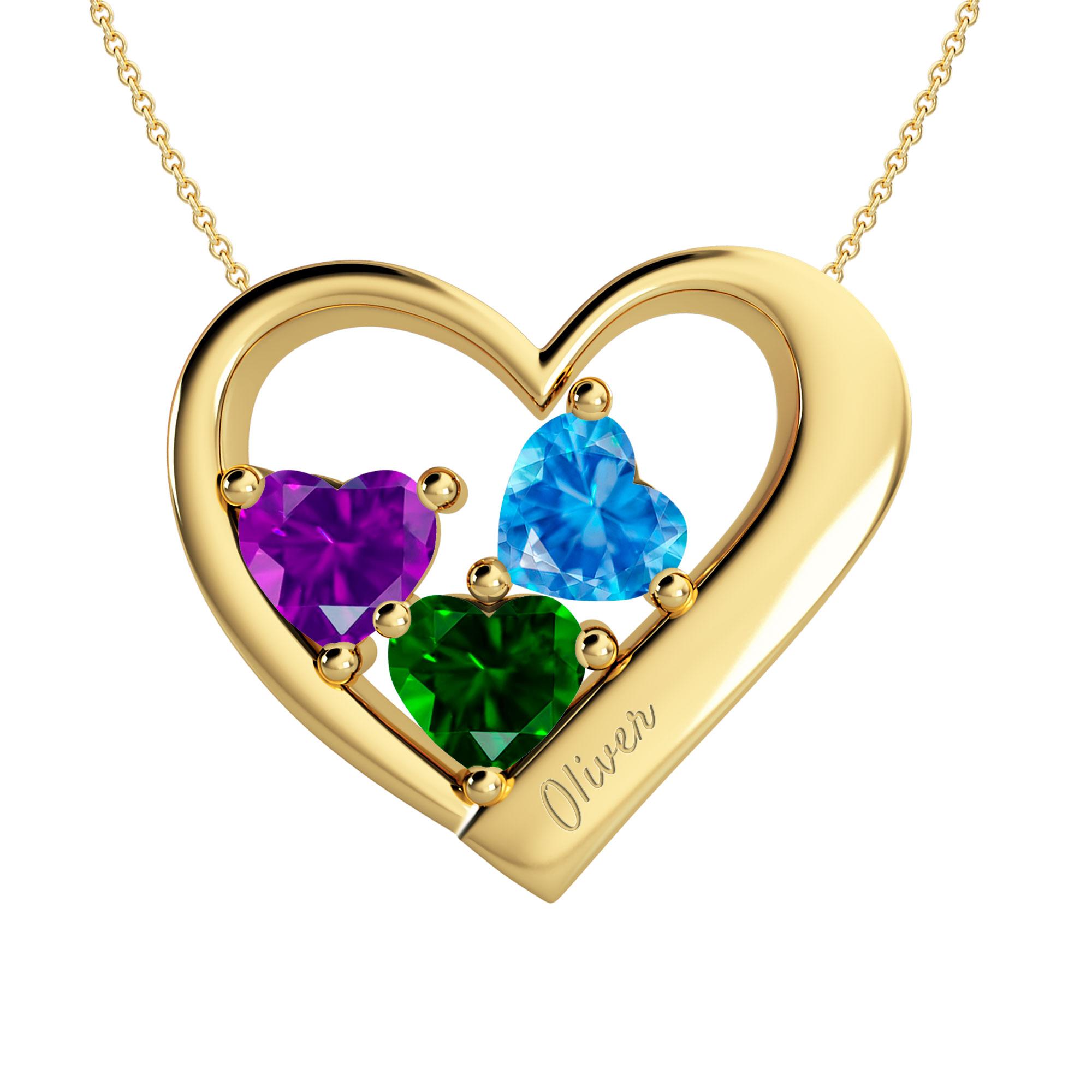 Mother's Heart Custom Birthstone Engravable Family Necklace (2-3 Gemstones)