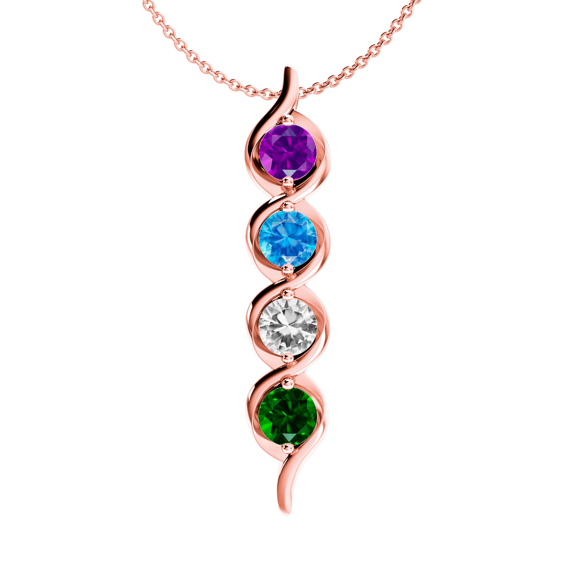 Mother's Custom Birthstone Cascading Family Pendant Necklace (2-4 Gemstones)