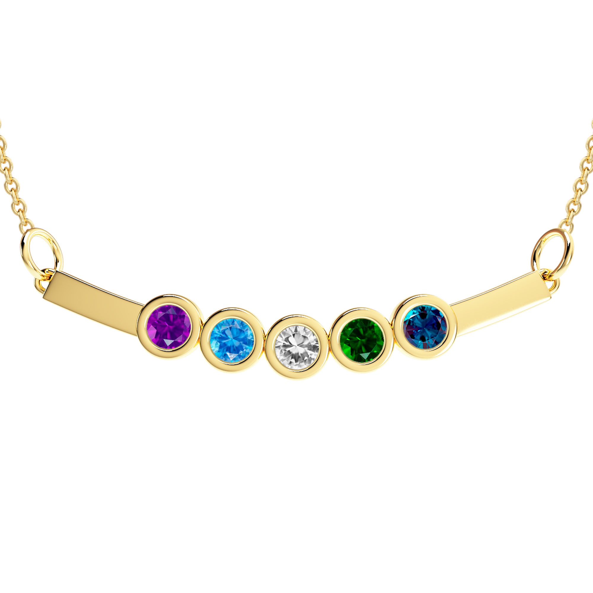 Mother's Custom Birthstone Curved Bar Family Necklace (2-5 Gemstones)