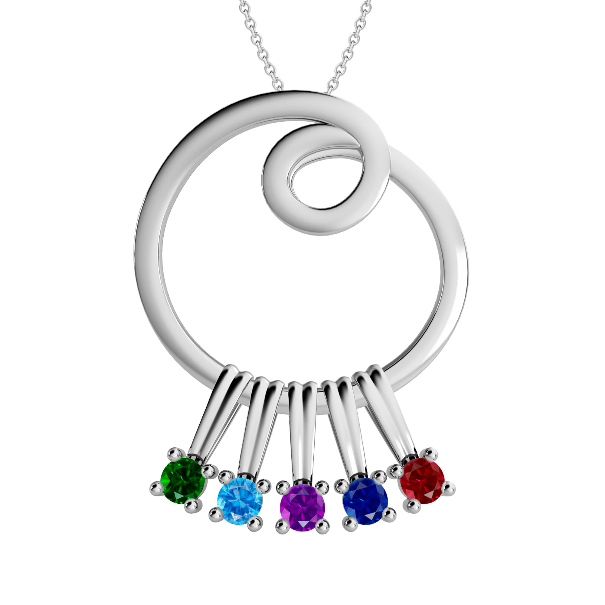 Mother's Custom Birthstone Circle Family Pendant Necklace (3 or 5 Gemstones)