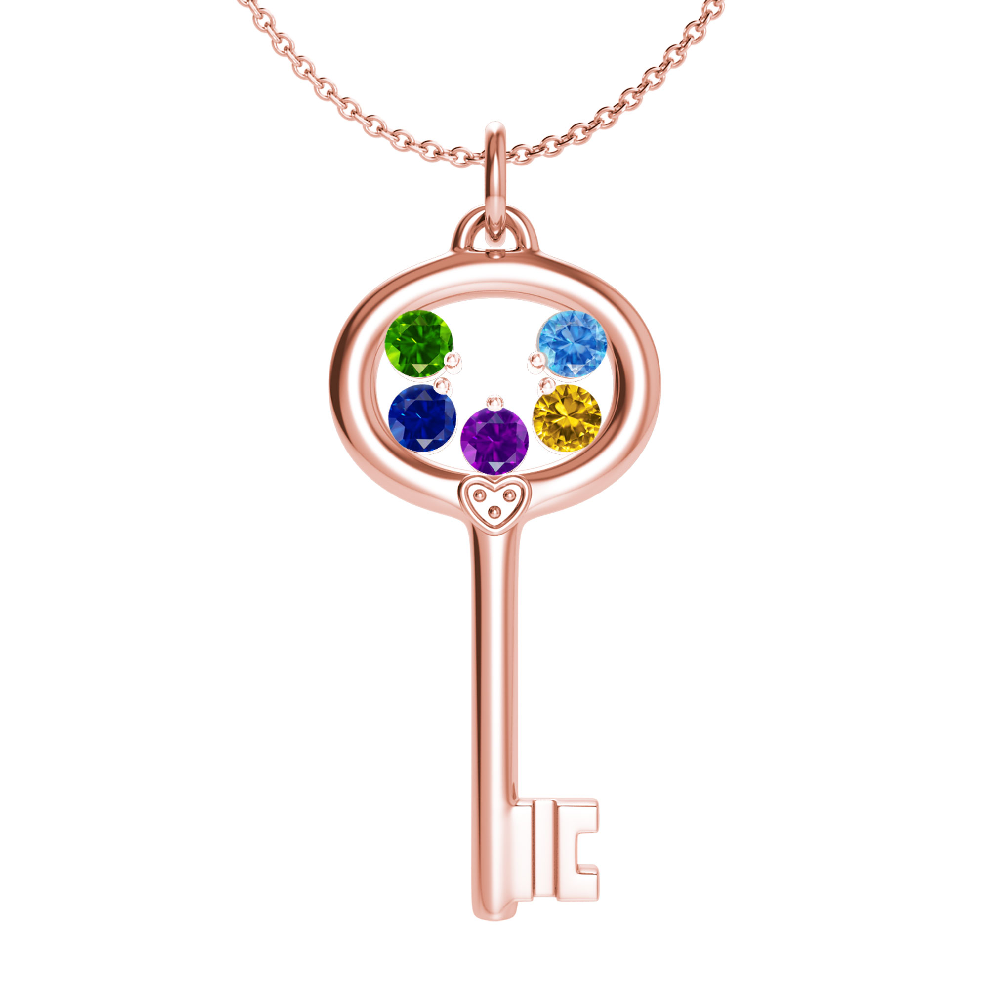 Mother's Custom Birthstone Key Family Pendant Necklace (2-5 Gemstones)