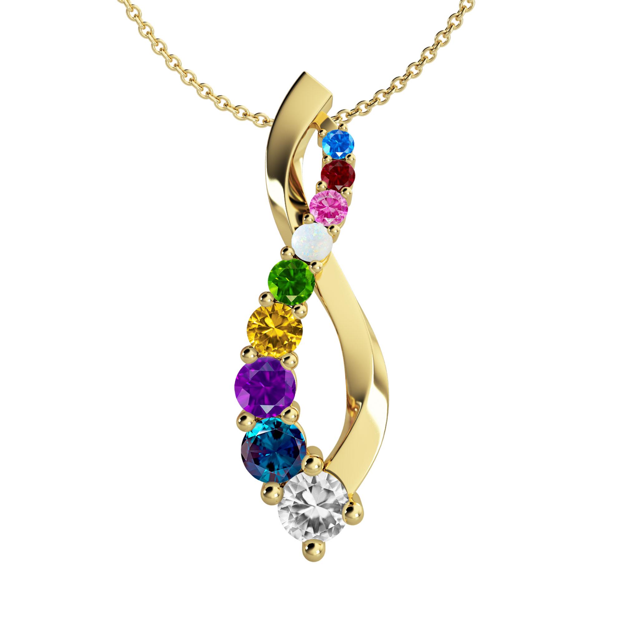 Mother's Custom Birthstone Journey Family Pendant Necklace (9 Gemstones)