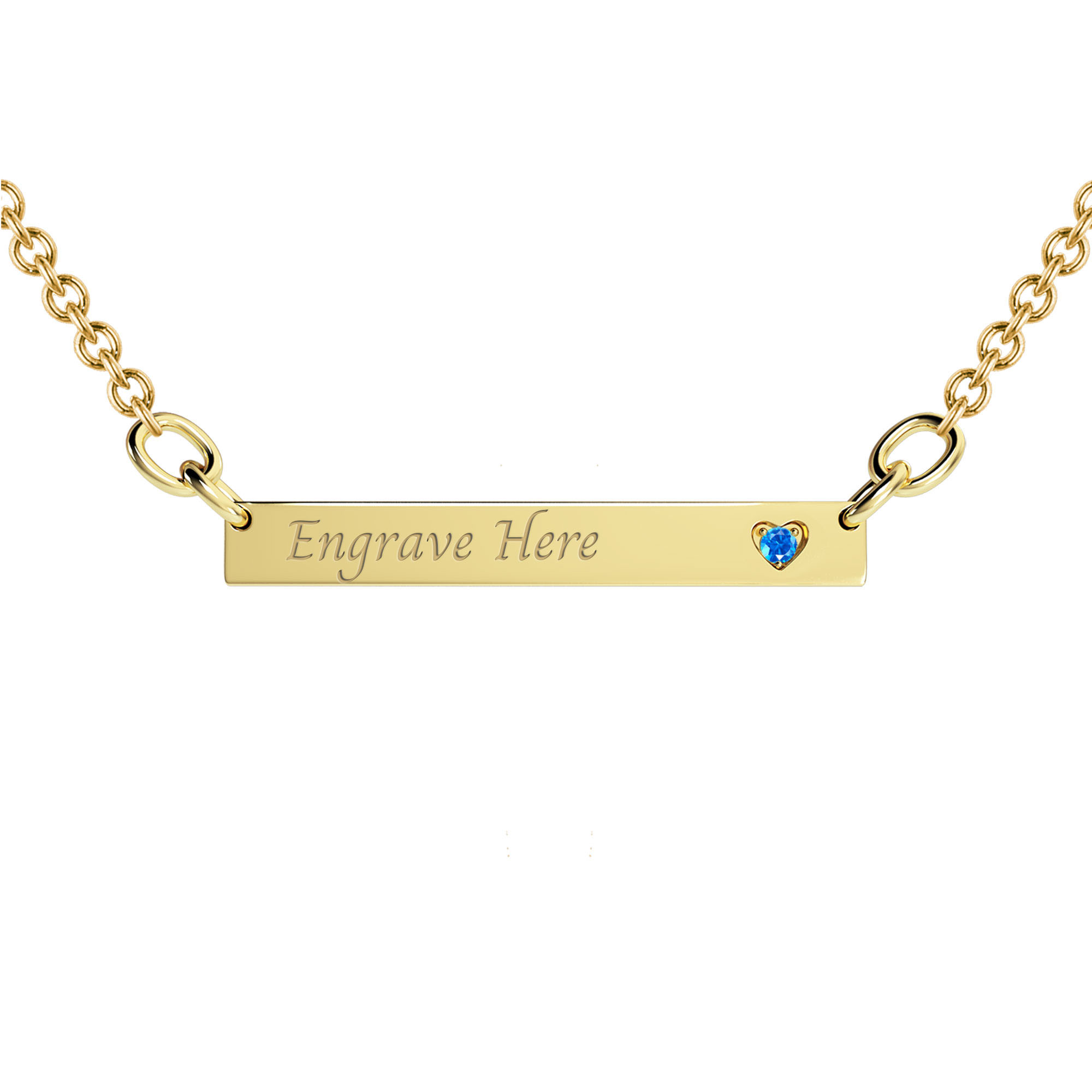 Custom Birthstone Heart Bar Engravable Necklace (1 Gemstone)