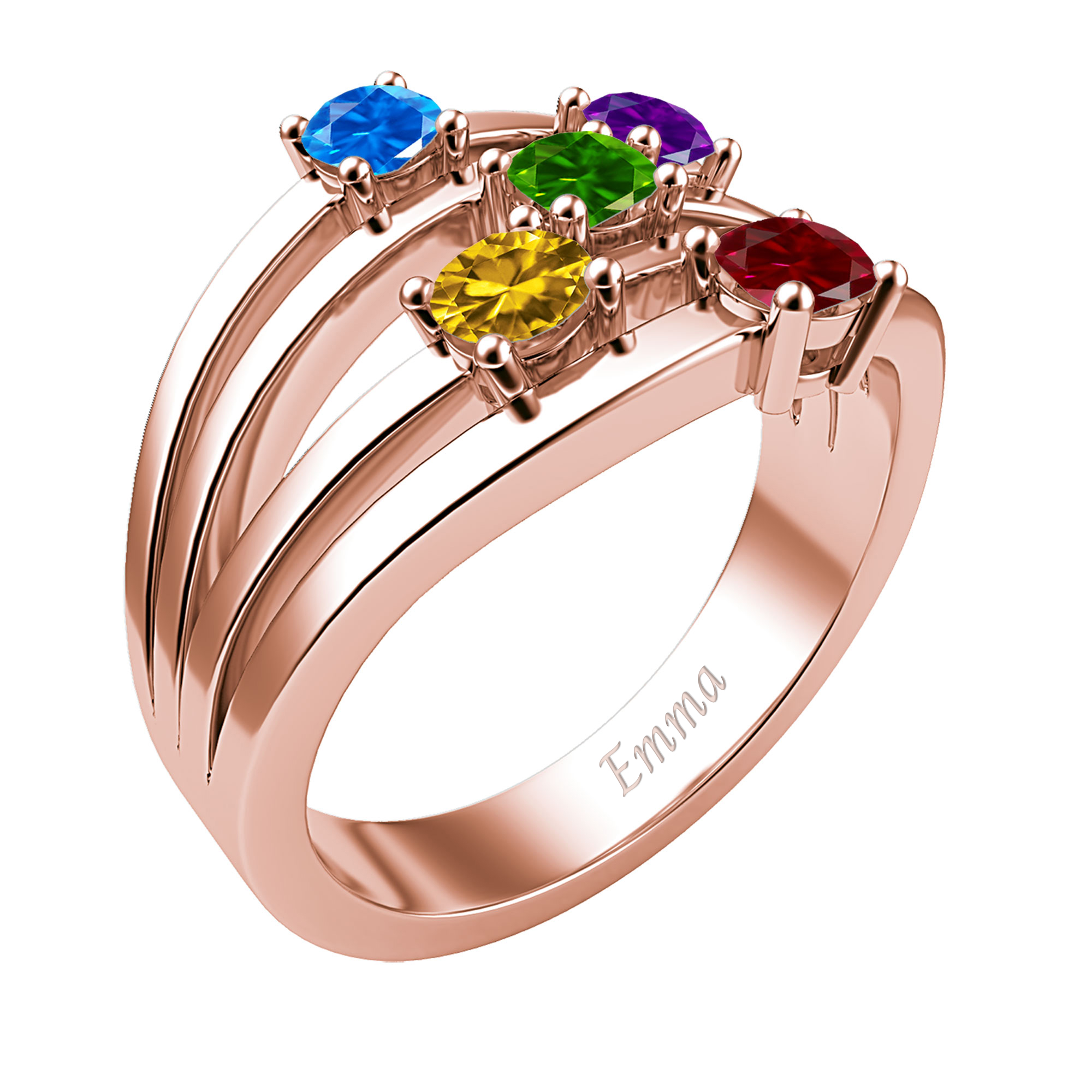 Mother's Custom Birthstone Multi-Row Engravable Family Ring (2-5 Gemstones)