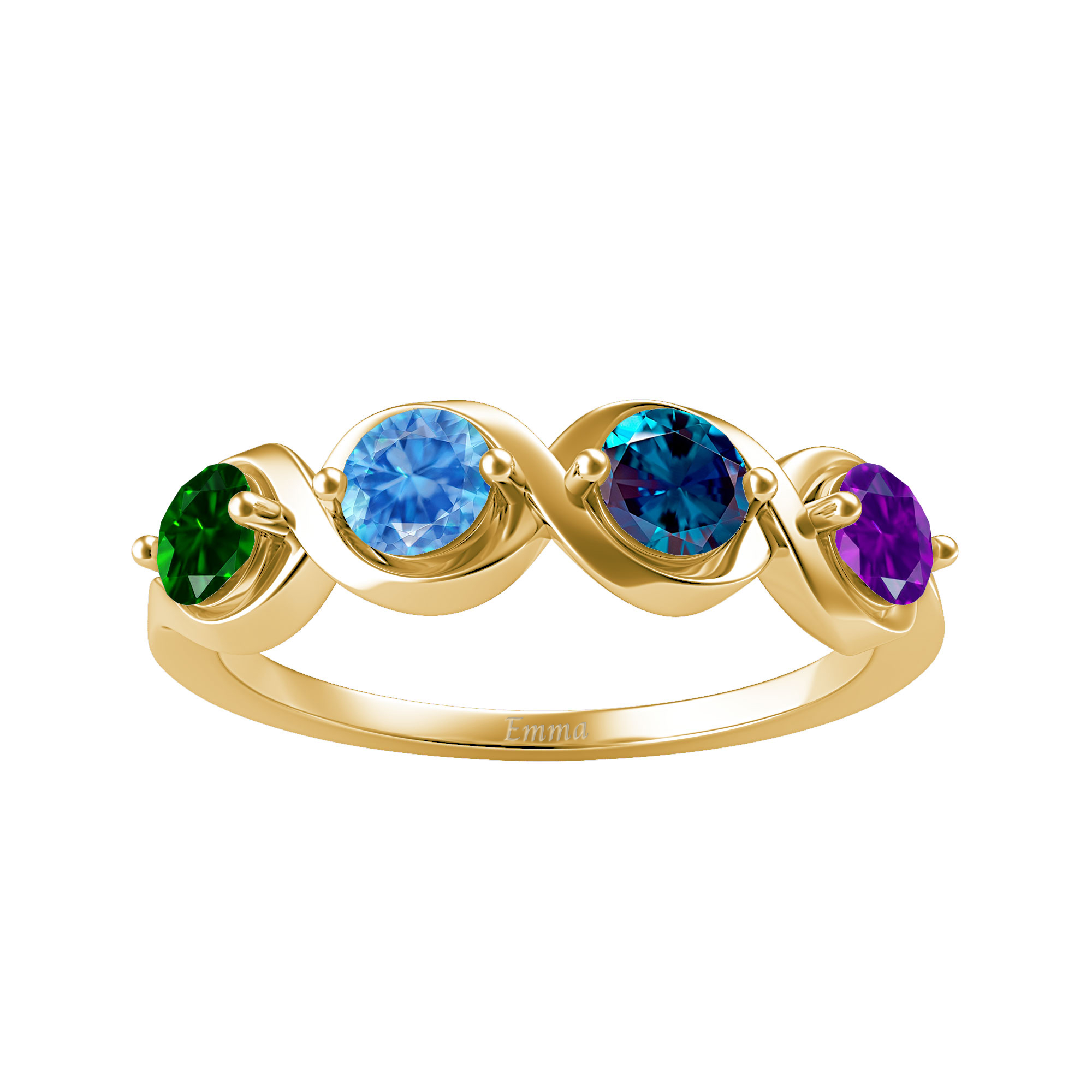 Mother's Custom Birthstone Twist Engravable Family Ring (2-4 Gemstones)