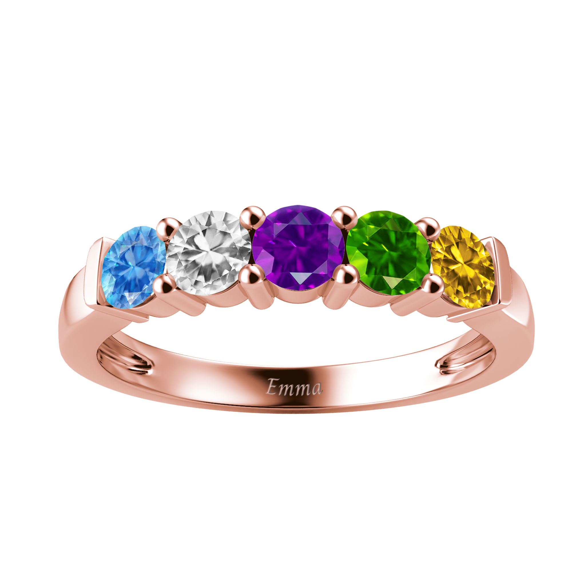 Mother's Custom Birthstone Single Row Engravable Family Ring (2-5 Gemstones)