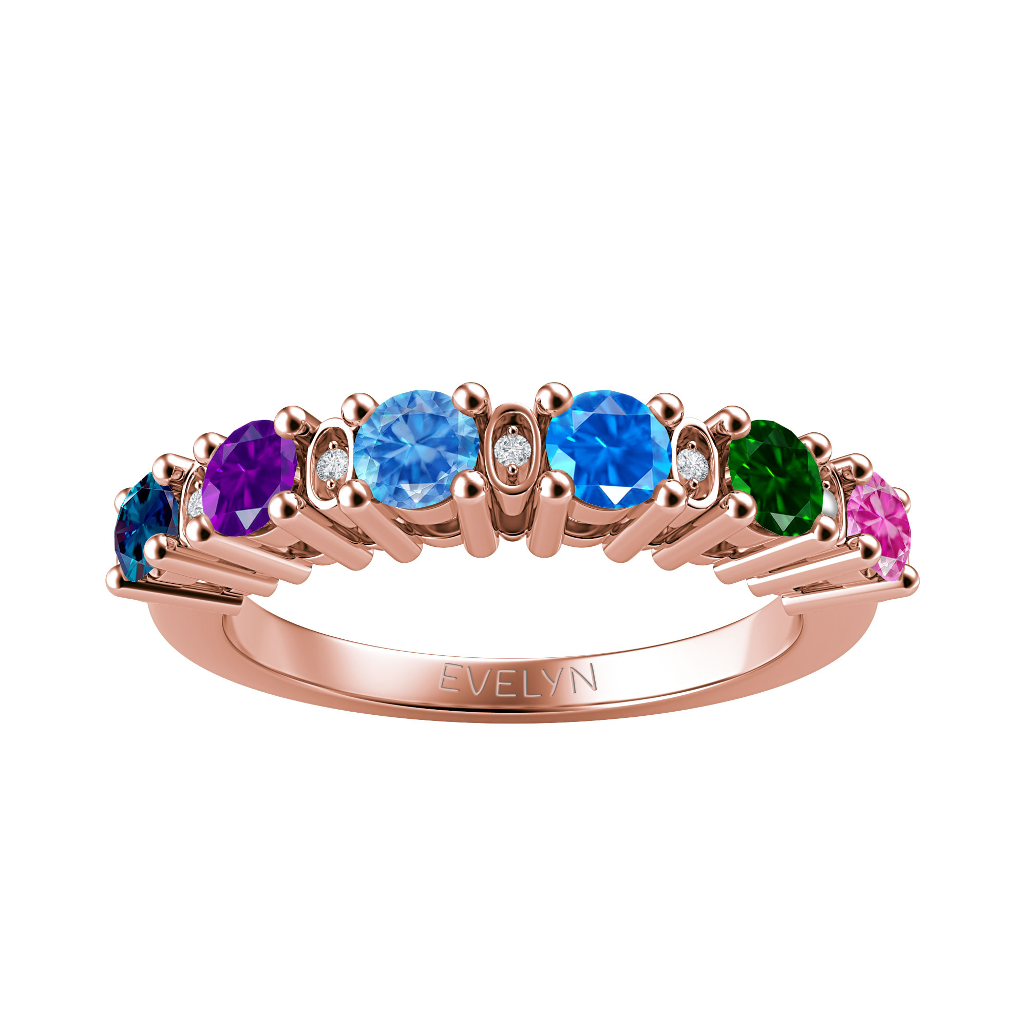 Mother's Custom Birthstone Vintage-Inspired Engravable Family Ring (4 or 6 Gemstones)