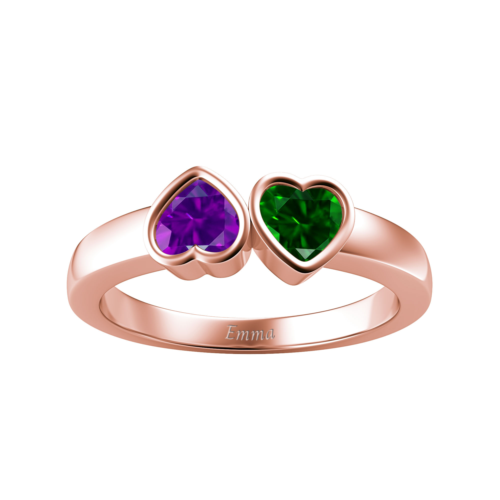 Couple's Custom Birthstone Engravable Double Heart Ring