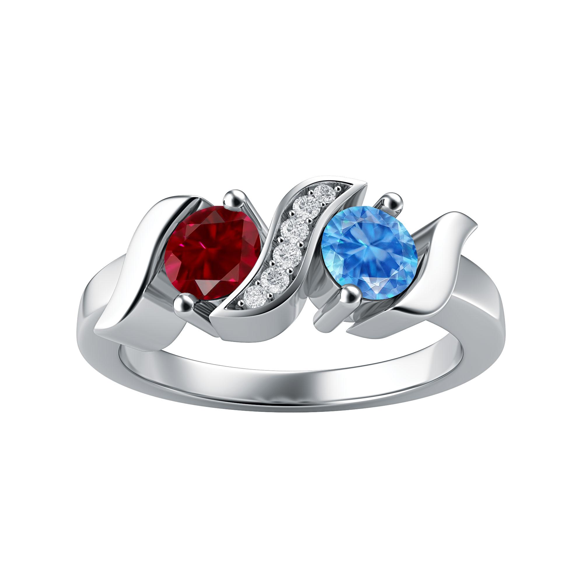 Couple's Custom Birthstone and Created White Sapphire Twist Ring