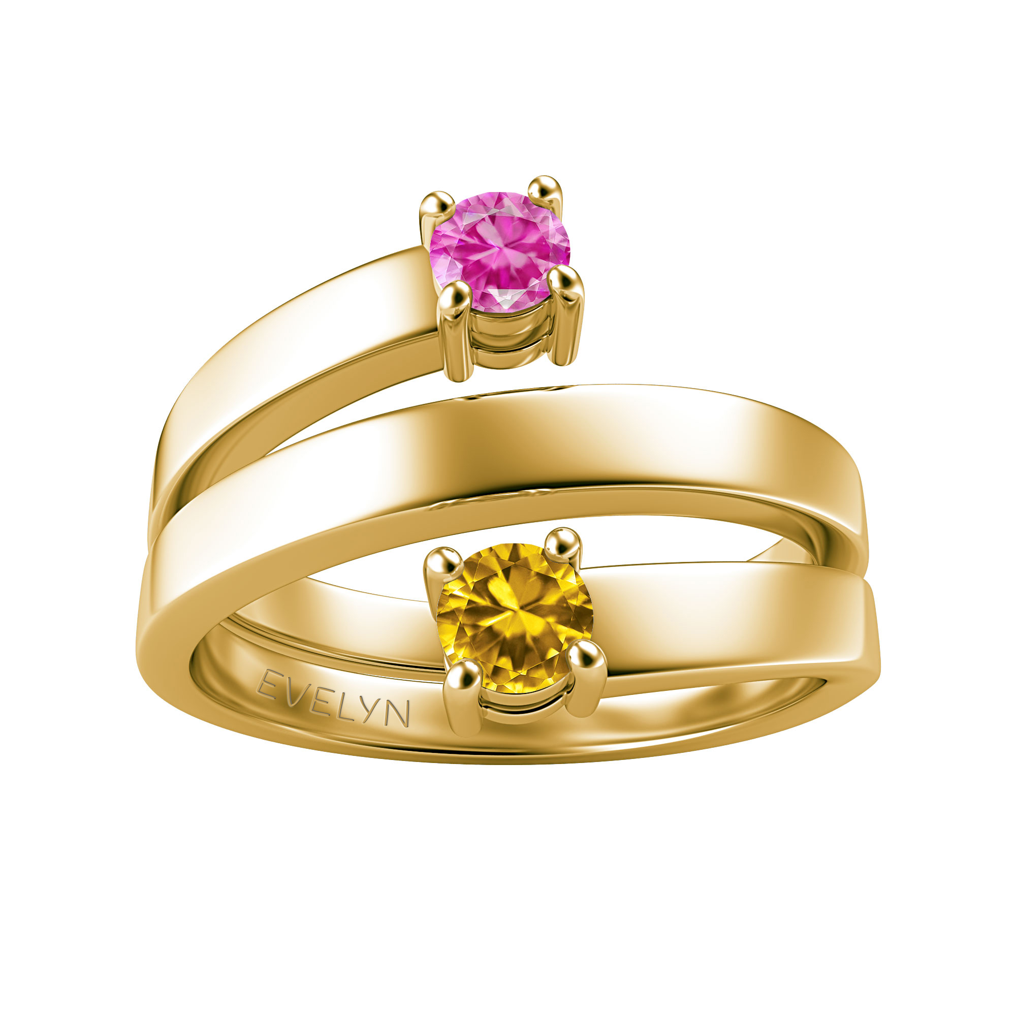 Couple's Custom Birthstone Engravable Coil Ring
