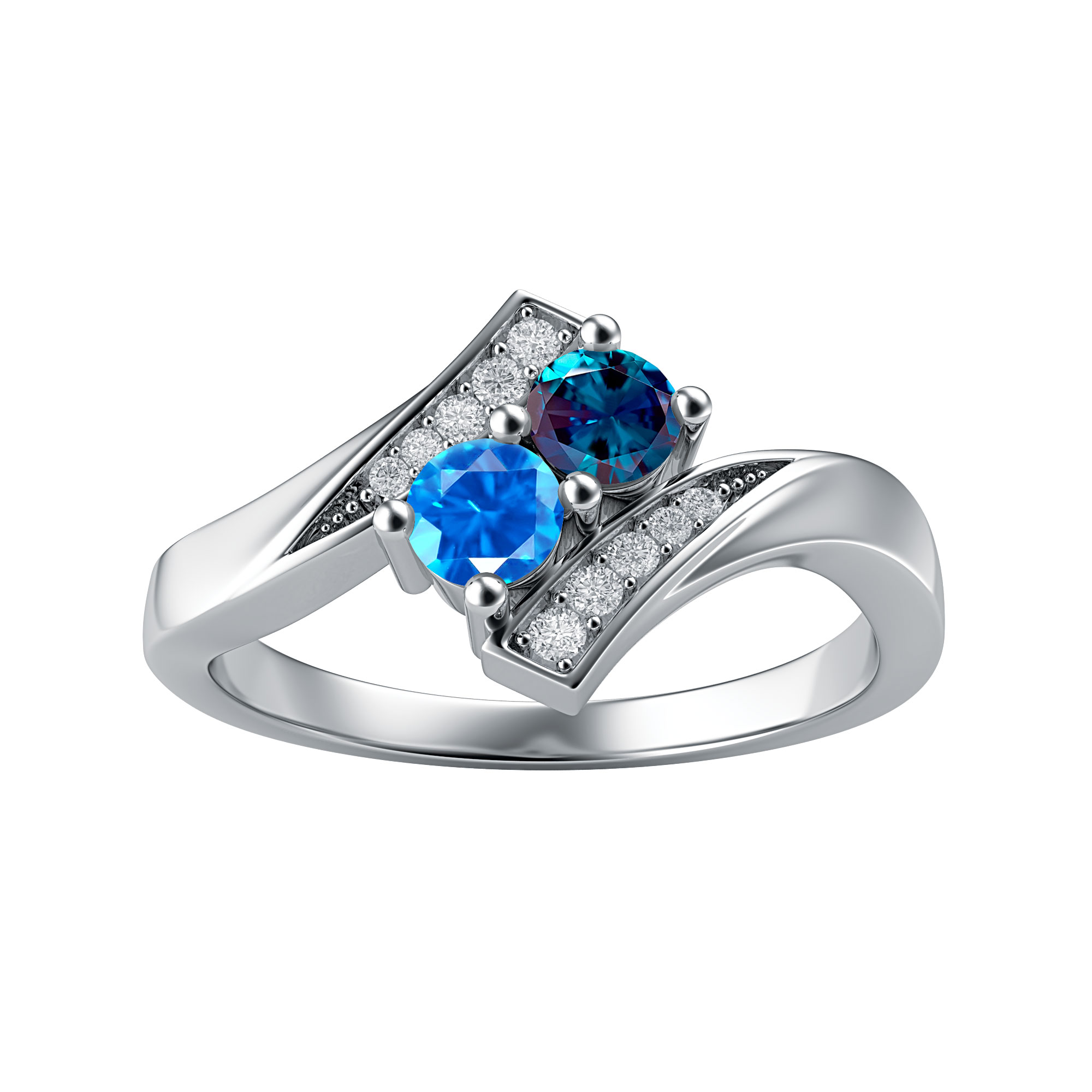 Couple's Custom Birthstone and Created White Sapphire Engravable Bypass Ring