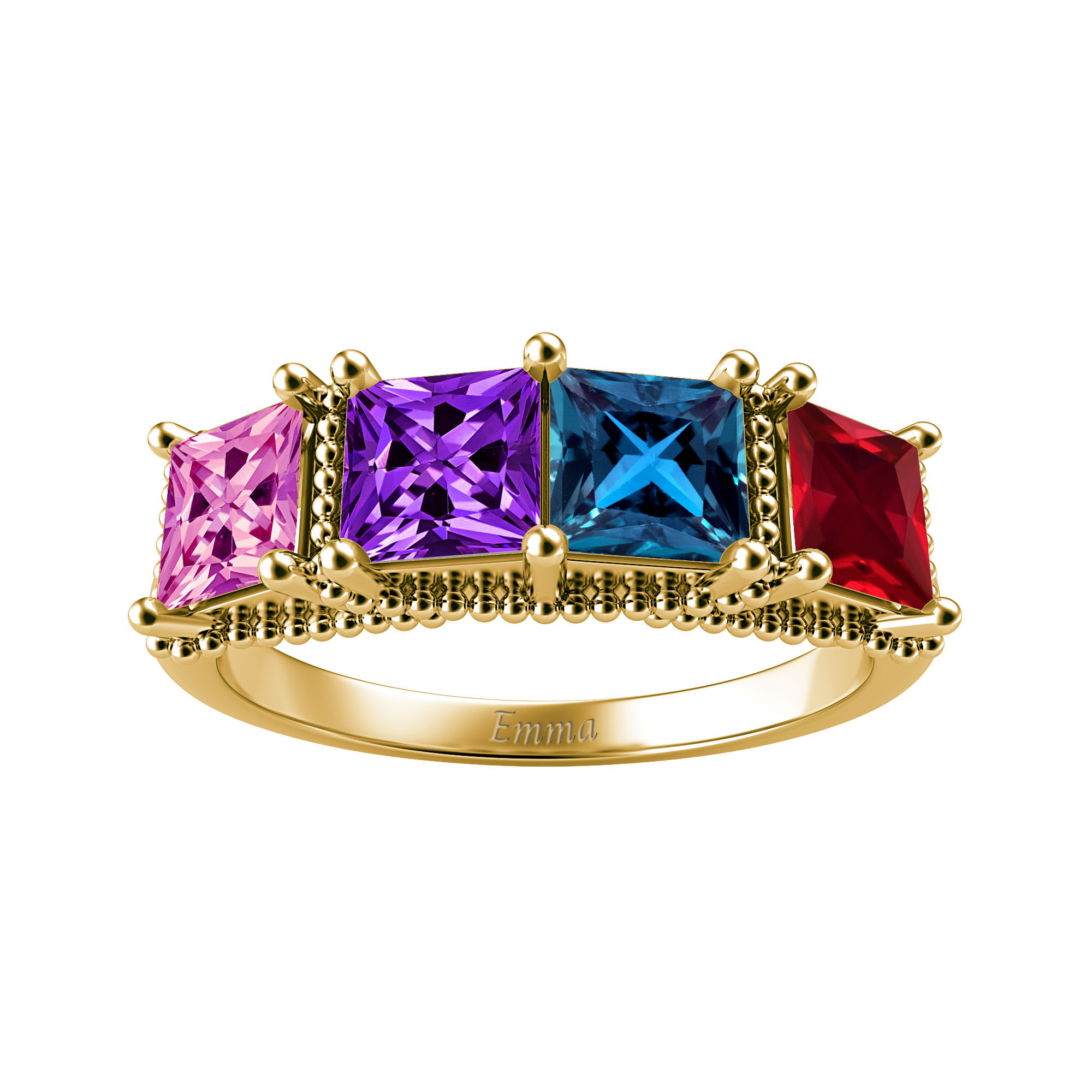 Mother's Custom Princess-Cut Birthstone Engravable Family Ring (4 Gemstones)