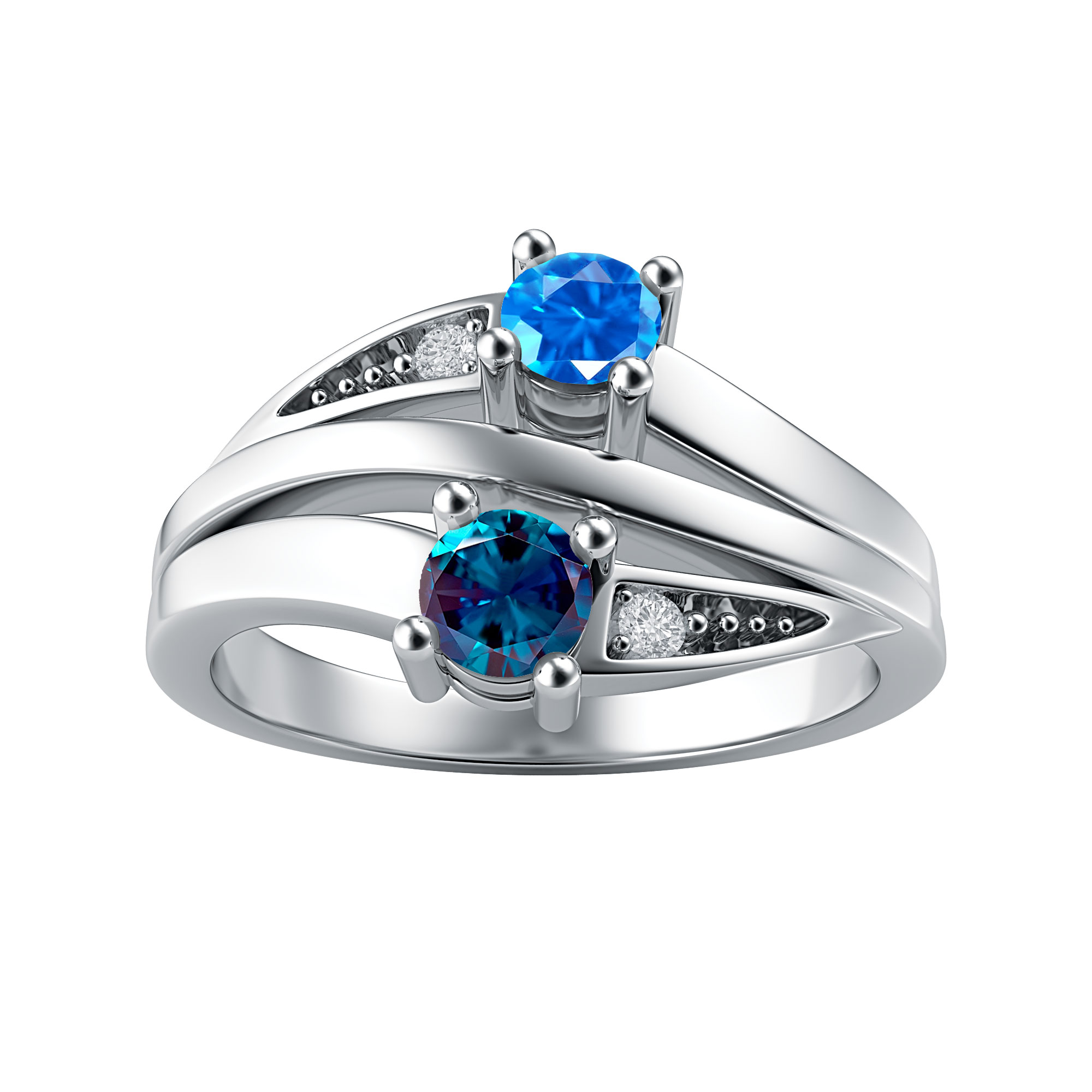 Couple's Custom Birthstone and Created White Sapphire Engravable Multi-Row Ring