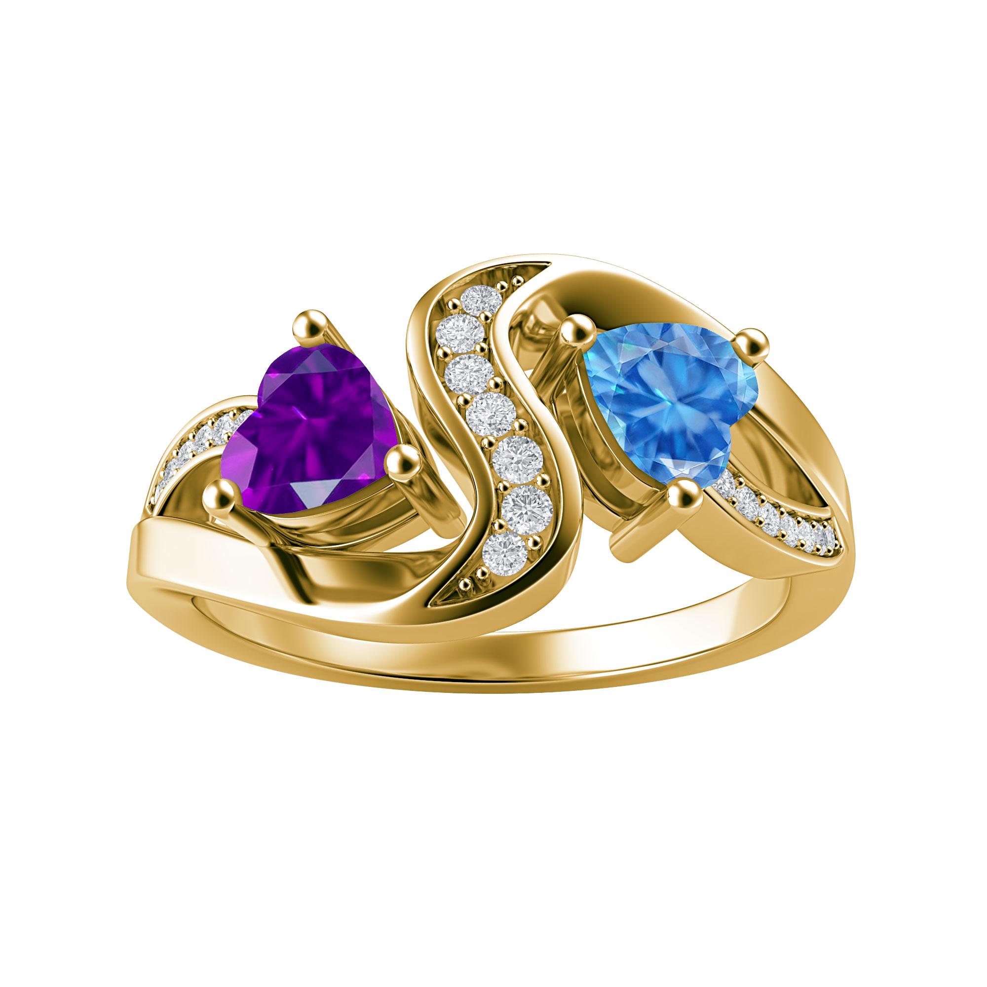 Couple's Custom Birthstone and Created White Sapphire Heart Swirl Ring