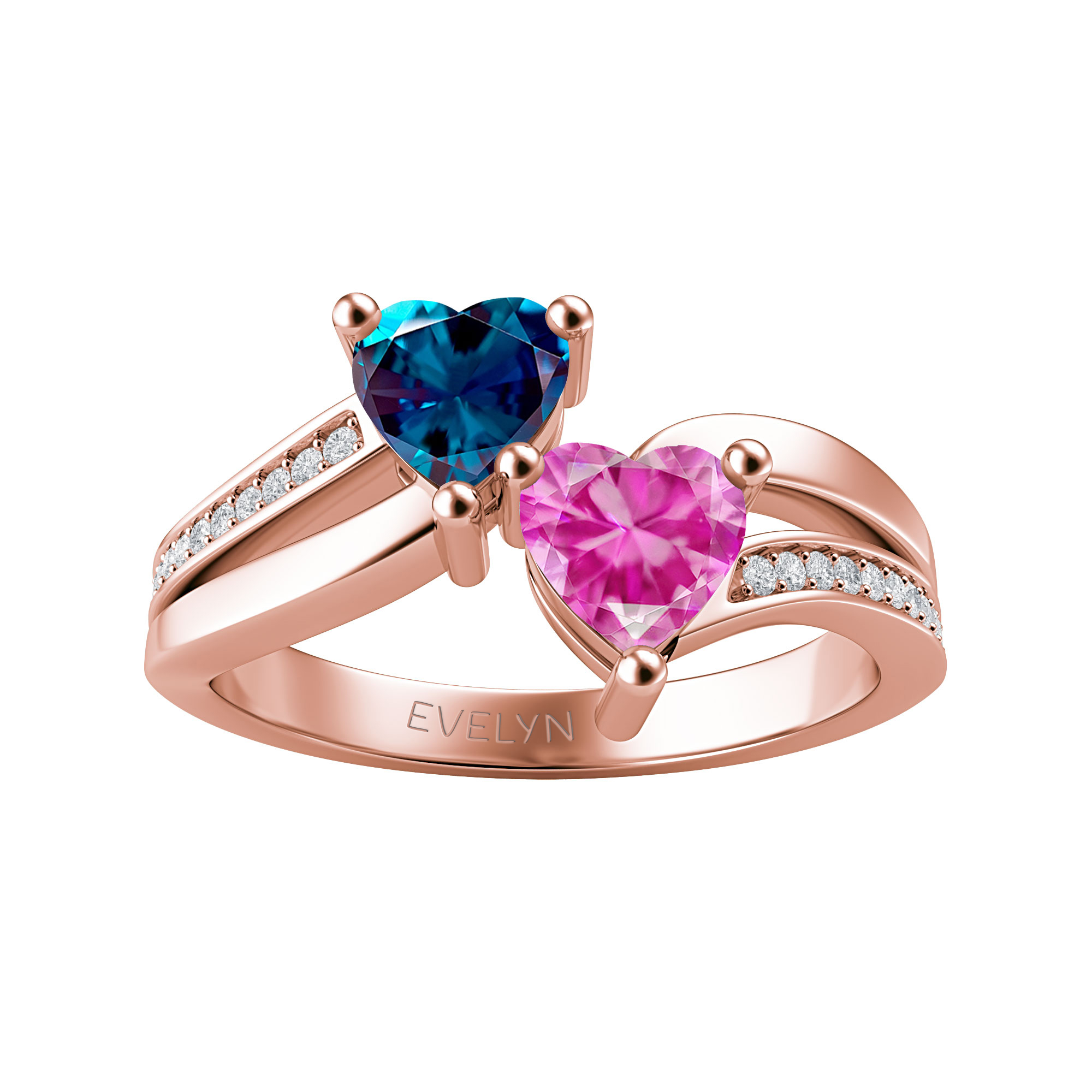 Couple's Custom Birthstone and Created White Sapphire Engravable Heart Bypass Ring