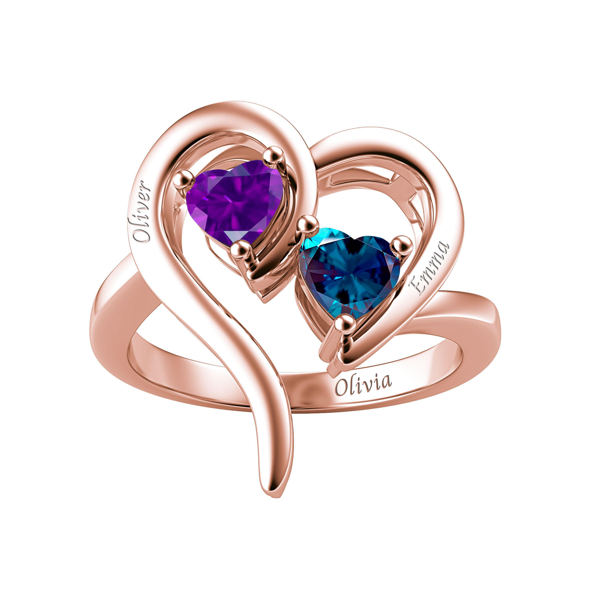 Couple's Custom Birthstone Engravable Heart Ring