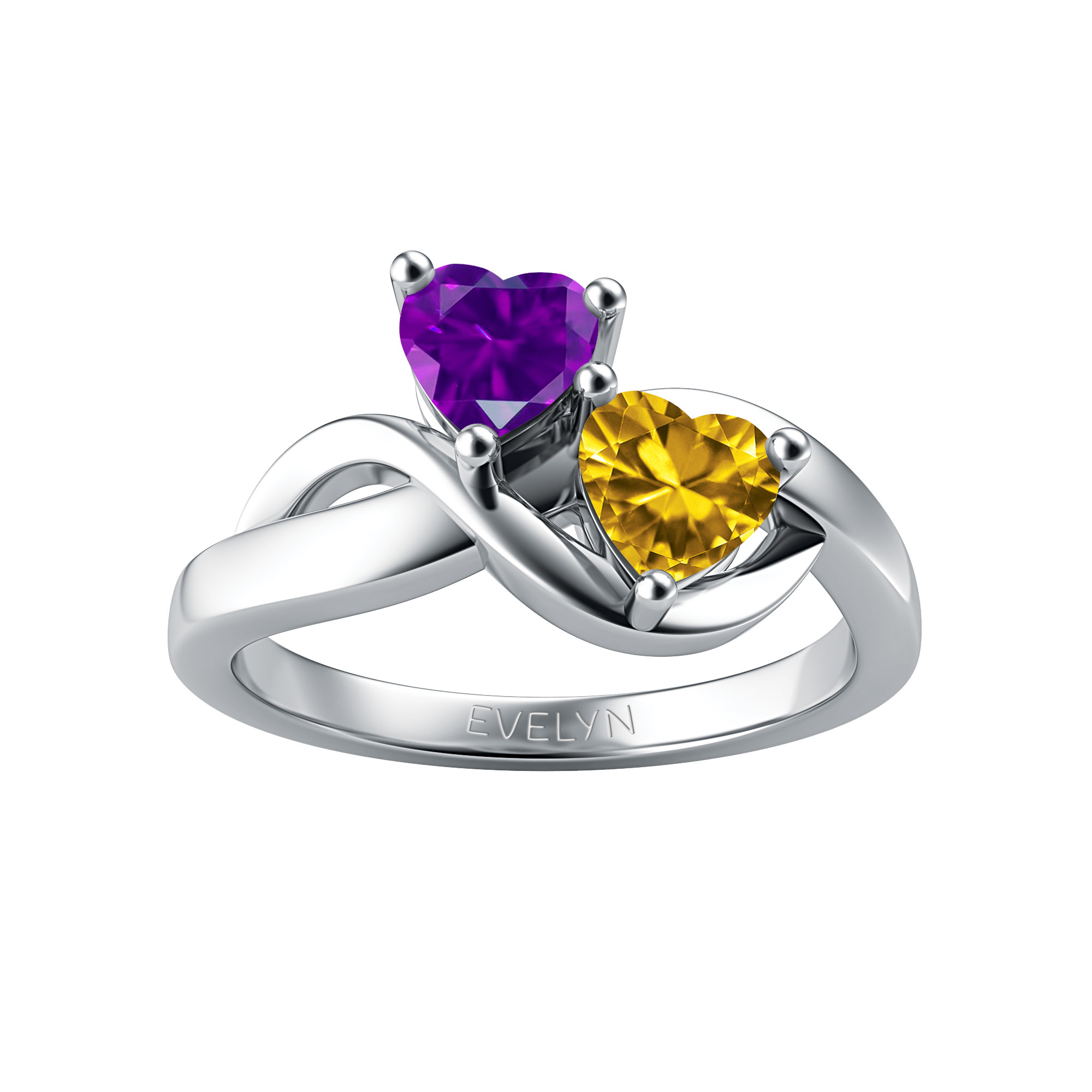 Couple's Custom Birthstone Double Heart Twist Engravable Ring