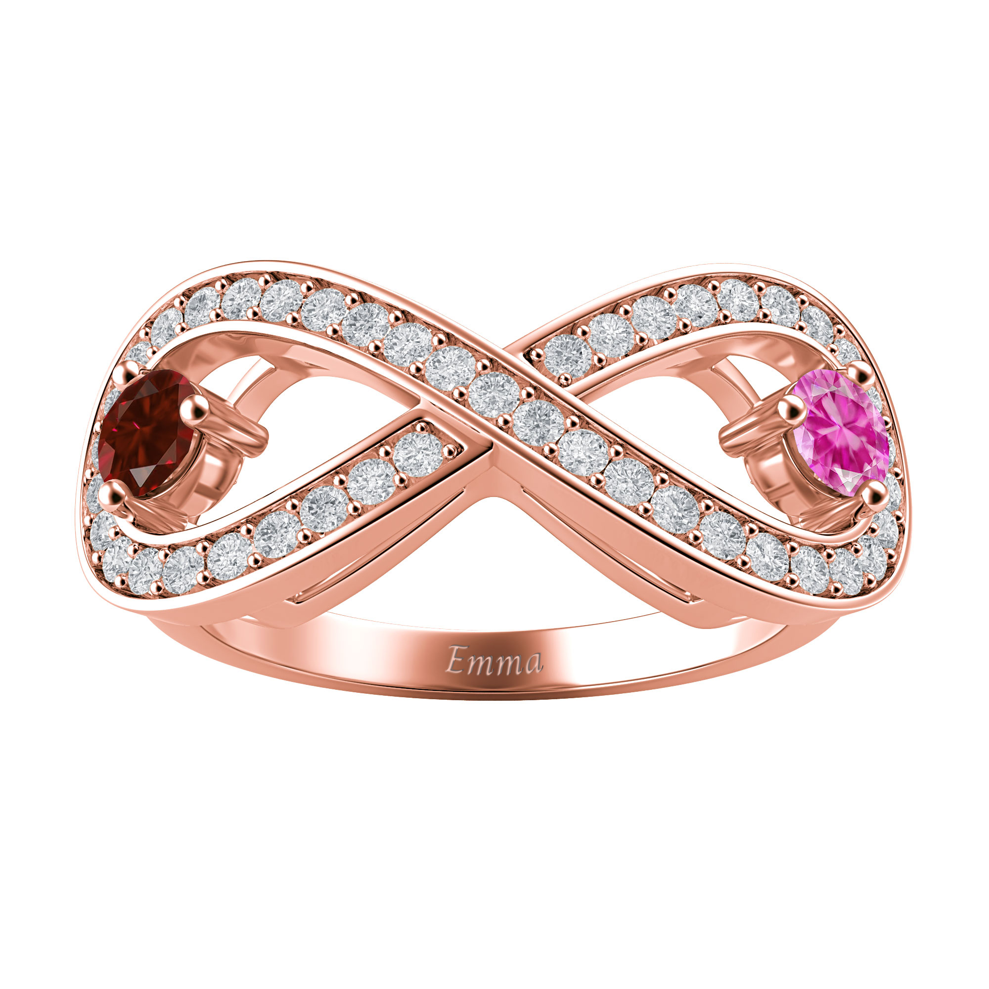 Couple's Custom Birthstone and Created White Sapphire Engravable Infinity Ring