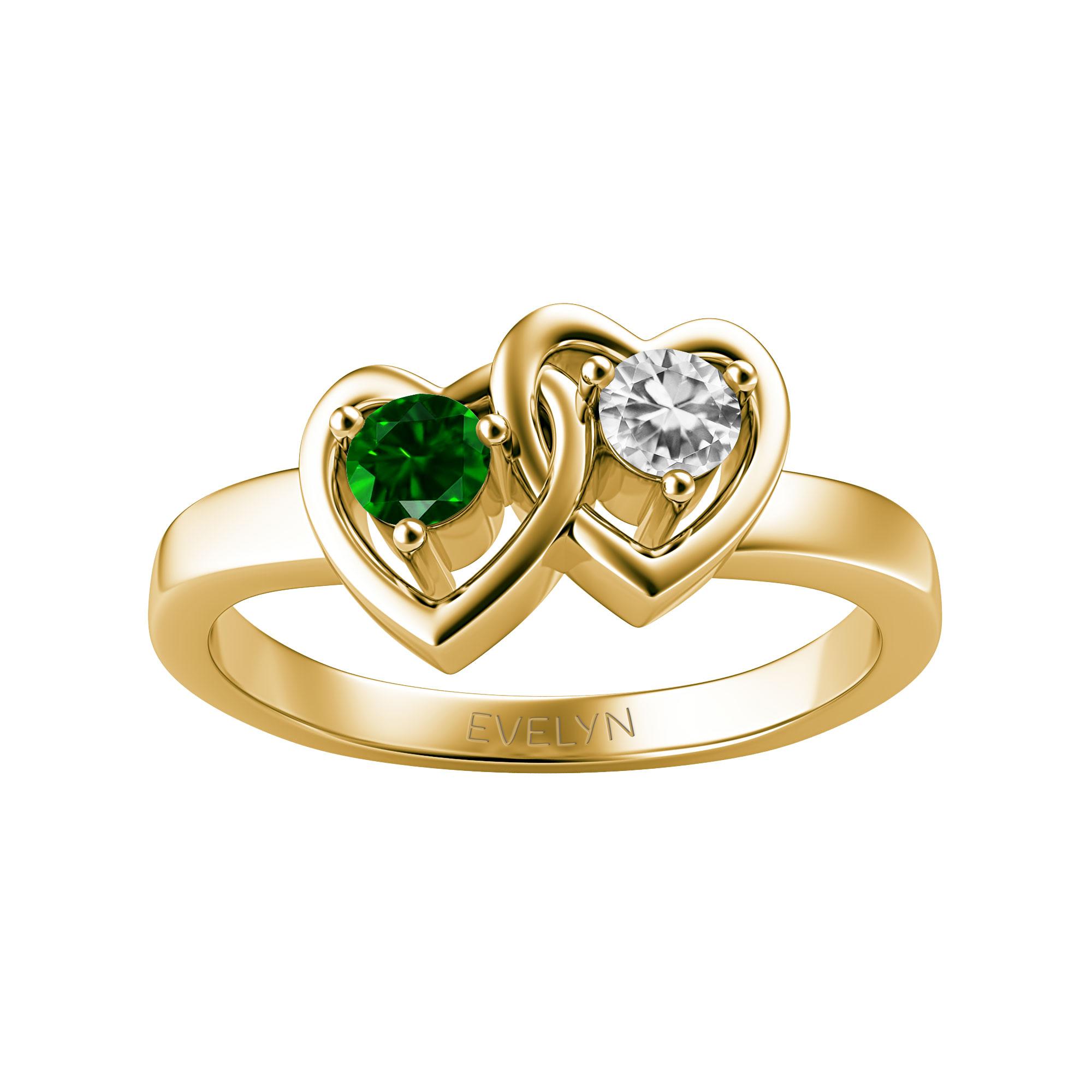 Couple's Custom Birthstone Interlocking Hearts Engravable Ring